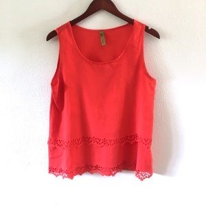 Whisper Red Floral Cut Out Scalloped Hem Tank